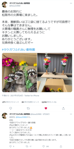 タケガワふれあい動物園 twitter アライグマ