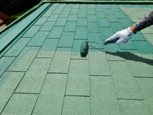 二度塗り アスファルトシングル屋根塗装 タケガワ塗装
